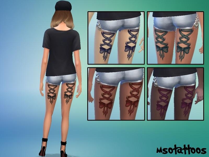 The Sims 4 Snake Thigh Tatoo: Luvjake's Corset & Bow Thigh Tattoo