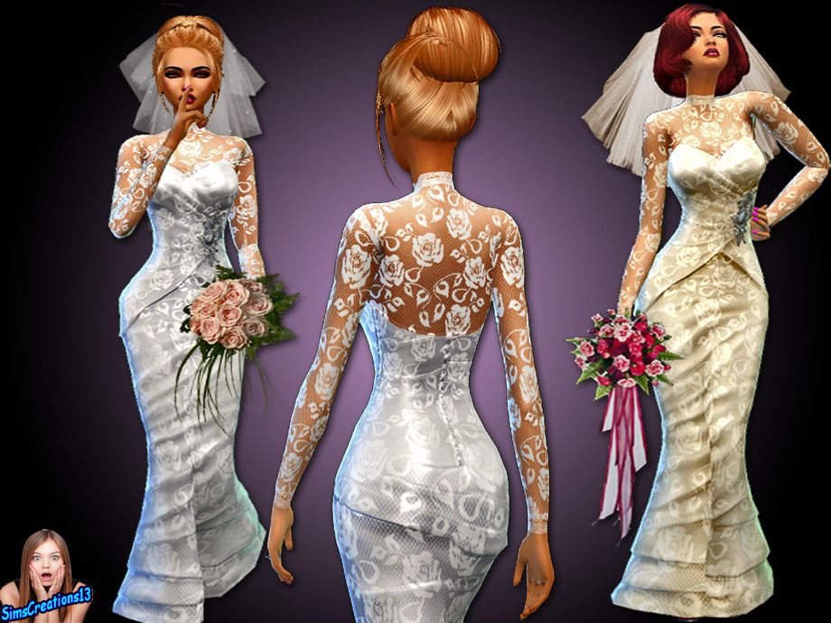 Simscreations13 Ivory and White Wedding Dress
