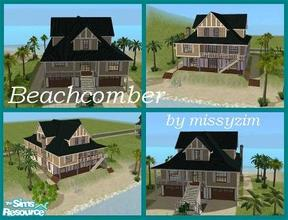 Sims 2 — Beachcomber by missyzim — Large family or vacation home on a beachside lot. Unfurnished. Deep Jade Tile roof by