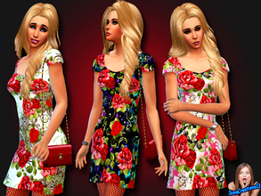 Sims 4 — Red Roses Dress by SIMSCREATIONS13 — Red roses dress comes in 3 rose patterns. 1. Has red roses with a white