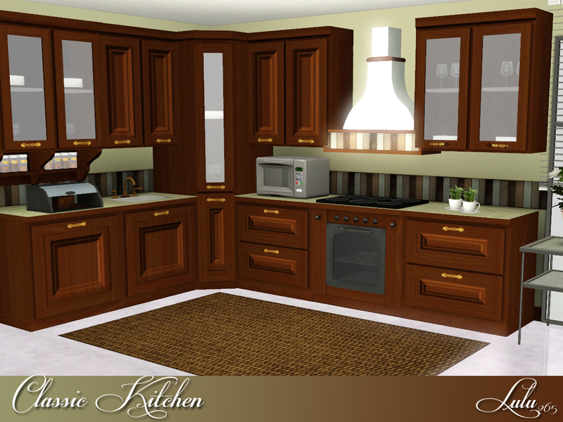 Lulu265 39 s classic kitchen for Sims 2 kitchen ideas