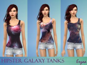 Sims 4 — Hipster Galaxy Tank Set by Erzaa — Fun set of galaxy themed tanks for your hipster simmies :3