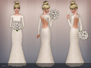 Sims 3 — Wedding Dress 43 by BEO — Wedding dress with asymmetrical cutout at the back presented in 1 variant. Recolorable