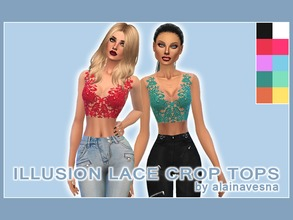 Sims 4 — Illusion Lace Crop Tops by alainavesna — This is a set of daring illusion tulle crop tops with beautiful lace