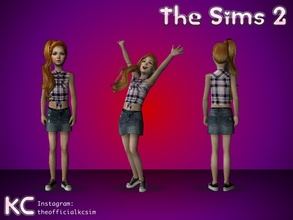 Sims 2 — Child\'s TOP  by KCsim — This upload only includes her top. Her skirt is separate. Remember to adjust your