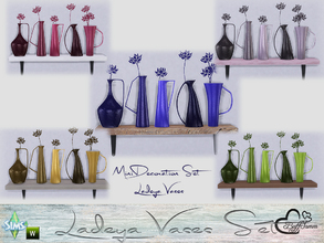 Sims 4 — Ladeya Vases Miniset by BuffSumm — A small decorative Set with a shelf and some vases. A walltattoo placed