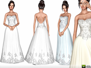 Sims 3 — Strapless Wedding Gown by ekinege — Embellished bodice strapless dress. Custom mesh by me.