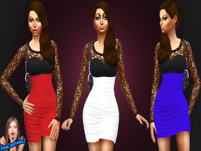 Sims 4 — Evening Dress Set 1 by SIMSCREATIONS13 — Evening dress comes in 3 colours with a long sleeved black lace top. 1.
