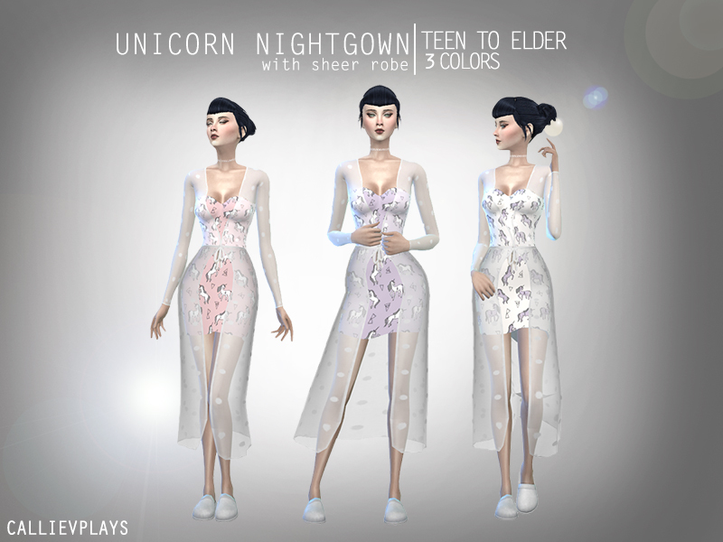 callie v s unicorn nightgown with sheer robe