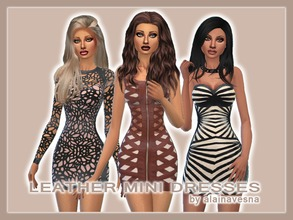 Sims 4 — Leather Mini Dresses by alainavesna — A collection of leather mini dresses in three different styles.