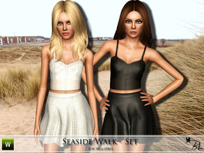 Sims 3 — Teen Seaside Walk - Set by Black_Lily — Set includes crop top & skirt for teen girls Recolorable