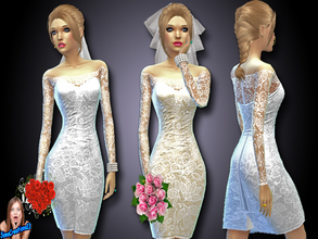 Sims 4 — Short Wedding Dress Set 1 by SIMSCREATIONS13 — A short white wedding dress with off the shoulder lace pattern