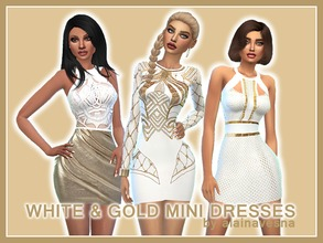 Sims 4 — White and Gold Mini Dresses by alainavesna — This is a collection of three sexy, white mini dresses with gold