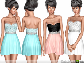Sims 3 — Little Strapless Dress by ekinege — Shimmer strapless short dress. 2 recolorable parts. Custom mesh by me.
