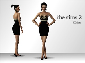 Sims 2 — Black & Gold Strapless Dress by KCsim — Remember to adjust your settings HIGH in the game for best results.
