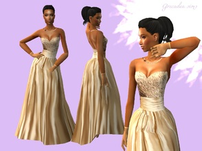 Sims 2 — Champagne wedding gown by grecadea2 — A wedding gown for your sims, in champagne - gold colour. Enjoy!
