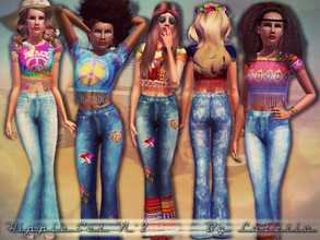 Sims 3 — Hippie Set No 2 by Lutetia — This set contains a fringed cropped tee and a pair of high-waisted flare jeans