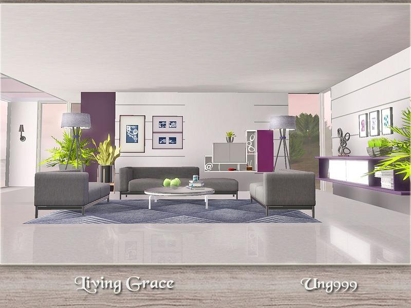 Ung999 39 s living grace for Modern living room sims 4