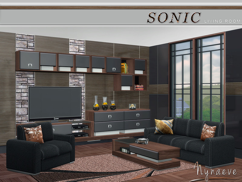 Nynaevedesign 39 s sonic living room for Living room designs sims 4