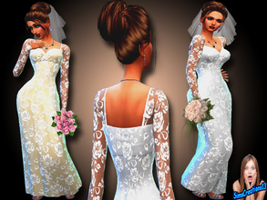 Sims 4 — Long Lace Wedding Dress by SIMSCREATIONS13 — A long white wedding dress with a lace pattern and a long Ivory