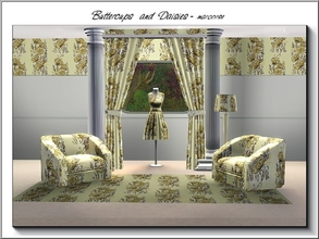 Sims 3 — Buttercups and Daisies_marcorse by marcorse — Fabric pattern: pale yellow buttercups and double daisies with