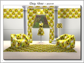 Sims 3 — Daisy Faces_marcorse by marcorse — Fabric pattern orange and yellow daisies.