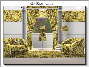 Sims 3 — Full Bloom_marcorse by marcorse — Fabric pattern: yellow orchid in full bloom with brown highlights.