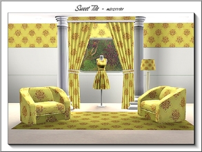Sims 3 — Sweet Tile_marcorse by marcorse — Tile pattern: sweet brown and yellow floral tile.
