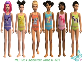Sims 2 — MLP Mane 6 Underwear/Sleepwear Set by sinful_aussie — Underwear featuring characters from the MLP Friendship is