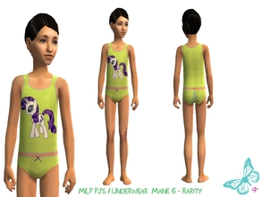 Sims 2 — MLP Mane 6 Underwear/Sleepwear Set - Rarity by sinful_aussie — Underwear featuring characters from the MLP
