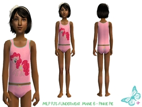 Sims 2 — MLP Mane 6 Underwear/Sleepwear Set - Pinkie Pie by sinful_aussie — Underwear featuring characters from the MLP