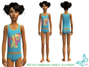 Sims 2 — MLP Mane 6 Underwear/Sleepwear Set - Fluttershy by sinful_aussie — Underwear featuring characters from the MLP