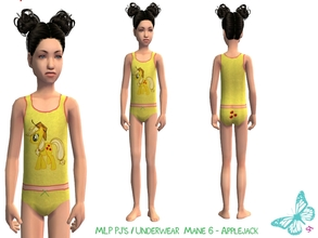 Sims 2 — MLP Mane 6 Underwear/Sleepwear Set - Applejack by sinful_aussie — Underwear featuring characters from the MLP
