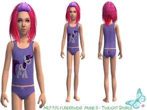 Sims 2 — MLP Mane 6 Underwear/Sleepwear Set - Twilight Sparkle by sinful_aussie — Underwear featuring characters from the