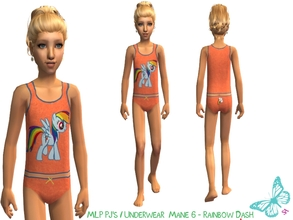 Sims 2 — MLP Mane 6 Underwear/Sleepwear Set - Rainbow Dash by sinful_aussie — Underwear featuring characters from the MLP