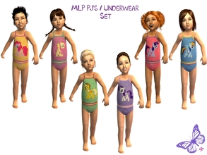 Sims 2 — Toddler MLP Mane 6 Underwear/Sleepwear Set by sinful_aussie — Underwear featuring characters from the MLP