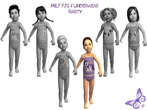 Sims 2 — Toddler MLP Mane 6 Underwear/Sleepwear Set - Rarity by sinful_aussie — Underwear featuring characters from the