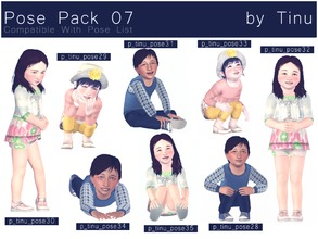 Sims 3 — Pose Pack 07 by Tinu by Tinuleaf — 8 Toddler poses compatible with the pose list. You can find the individuals