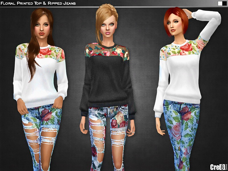 Cre8sims 39 Floral Printed Top And Skinny Jeans Spa Day Gp