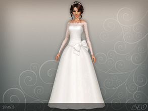 Sims 3 — Wedding dress 45 by BEO — Wedding dress presented in 1 variant. Recolorable 4 canals.