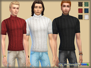 Sims 4 — Turtleneck Sweater by bukovka — Sweater with short sleeves and a high collar. Large binding, good texture. Six
