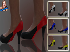 Sims 4 — Black And Coloured Shoes. by SIMSCREATIONS13 — Black And Coloured Shoes come in 4 colours, black-red,