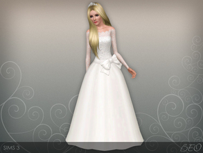 Sims 3 — Wedding dress 45 V2 by BEO — Wedding dress presented in 1 variant. Recolorable 3 canals.
