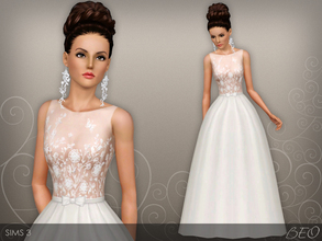 Sims 3 — Wedding dress 46 by BEO — Wedding dress presented in 1 variant. Recolorable 3 canals.
