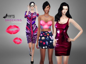 Sims 4 — MFS Shocking Collection by MissFortune — A collection of girly clothing in violet and pink shades! Every item