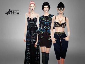 Sims 4 — MFS - We Own The Night SET by MissFortune — A collection of embellished clothing in dark shades. Fashionable and