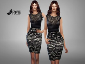 Sims 4 — MFS Dahlia Dress by MissFortune — Pencil dress with a embellished top. Standalone, Hq texture, custom thumbnail,