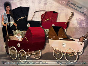 Sims 3 — Vintage Pram Set ~ 2,000,000 DL by Lutetia — This set contains three cute vintage inspired prams ~ One pram