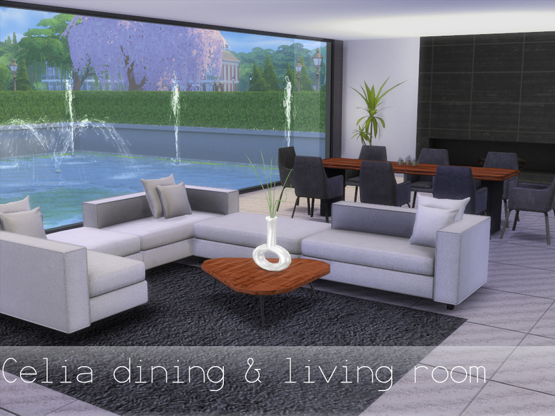 Spacesims 39 celia dining and living room for Salon moderne sims 4