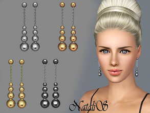 Sims 3 — NataliS TS3 Metal beads drop earrings FT-FA by Natalis — Excellent drop earrings. Radiant polishing metal beads